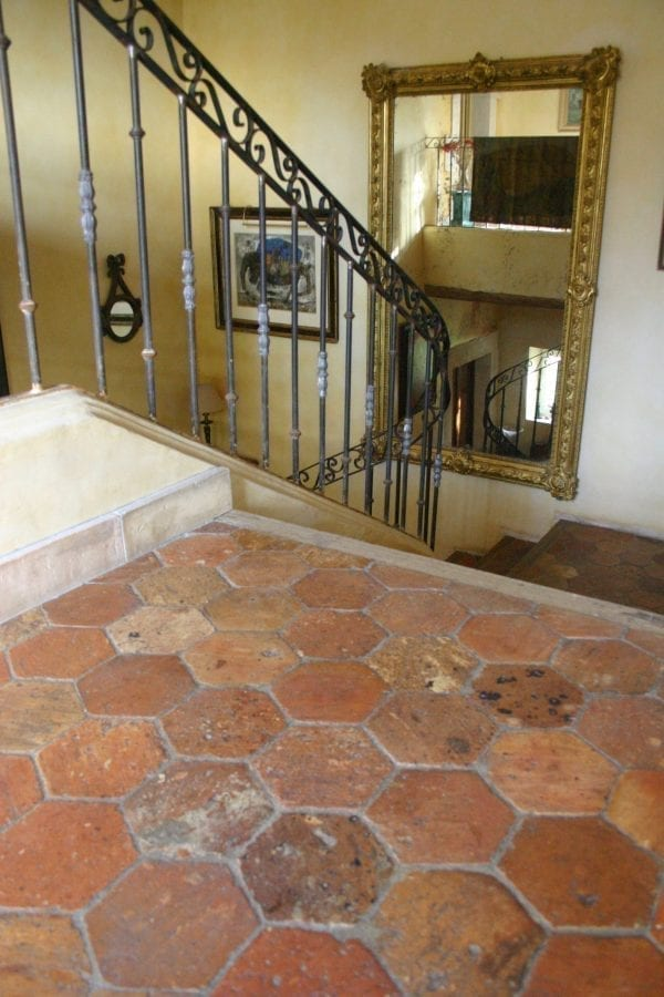 Hexagonal antique terracotta tiles
